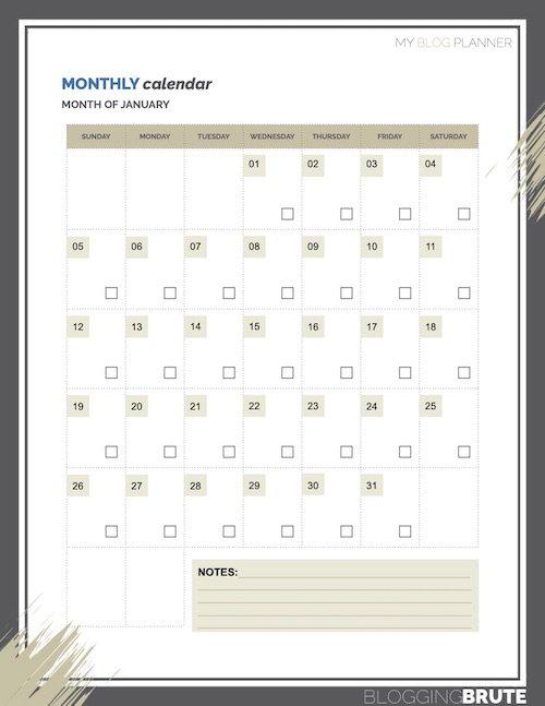 Blog Planner Calendars