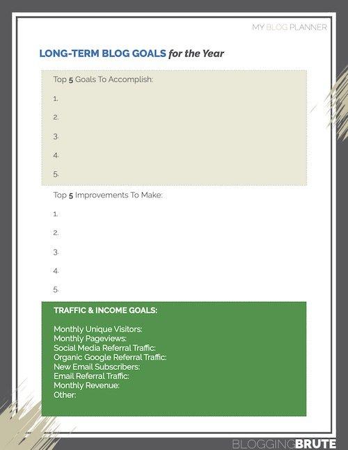 Blog Planner Goals